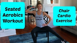 Seated aerobics workout. Full length chair exercise video.