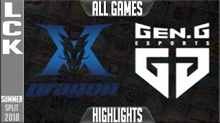 KZ vs GEN Highlights ALL GAMES | LCK Summer 2018 Week 1 Day 2 | King-Zone DragonX vs Gen.G