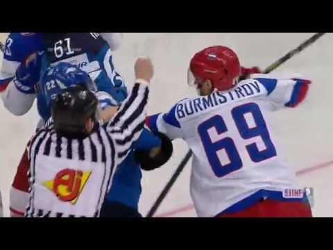 Драка во время финала Россия Финляндия, хоккей лучшее
