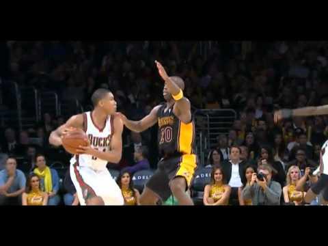 Jodie Meeks flops on Giannis Antetokounmpo: Bucks at Lakers