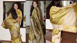 Rekha Twirls In A Saree At Javed Akhtar Birthday Bash 2017