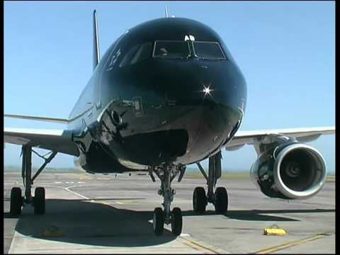 Airbus A320 painted black arrives in Auckland for Air New Zealand..mpg