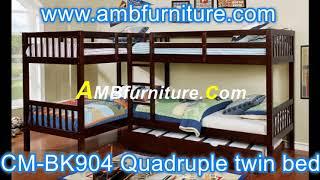 CM-BK904 Marquette quadruple twin bed espresso finish wood bunk bed