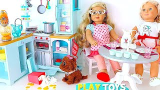 Baby Doll baking cupcakes - Playing AG dolls cooking in kitchen mixer toy, pet dog mess vacuum clean