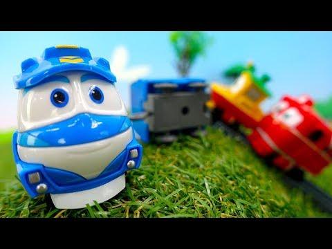 Видео для детей. Роботы поезда строят железную дорогу.