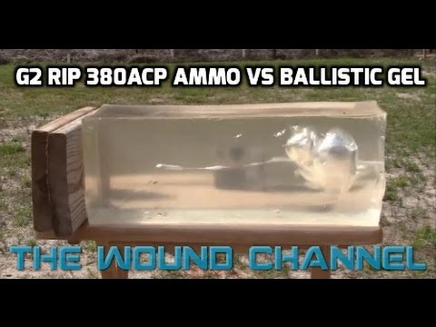 G2 Rip Ammo 380 ACP vs Clear Ballistic Gel