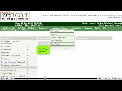 0 Configure sales tax in ZenCart | ZenCart Sales Tax