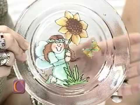 Aula de artesanato: Craquelê e decupagem com guardanapo no prato de vidro