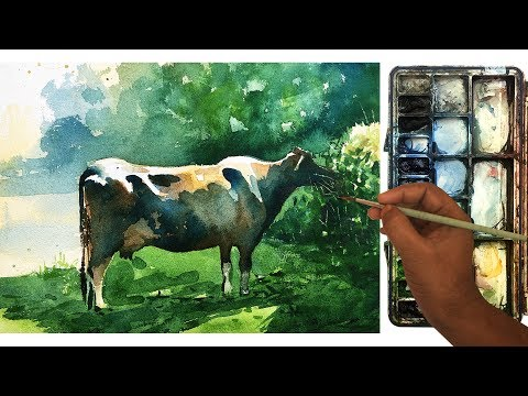 Watercolor Painting demonstration of a cow   Process of watercolor painting step by step.