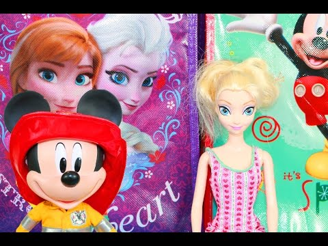 Frozen SURPRISE Bags Elsa Anna Opening Bag VS Mickey Mouse Blind Bag Toys Sofia The First Disney