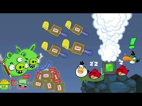 Bad Piggies - PIGGIES REVENGE ATTACK TNT ROCKET ON ANGRY BIRDS!!!