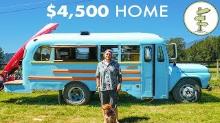 Young Man Builds Stunning School Bus Tiny House for Only $4,500 - Debt Free Mobile Home
