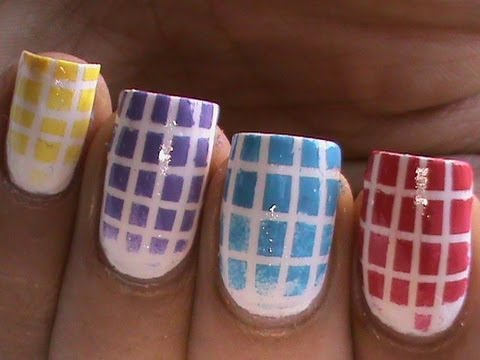 Checkered Gradient Nail Polish Designs- Cute Ombre Bright Nail Art ...