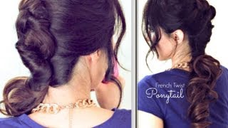 ★CUTE FRENCH TWIST-AROUND PONYTAIL |EASY SUMMER LONG HAIRSTYLES UPDOS FOR MEDIUM LONG HAIR TUTORIAL