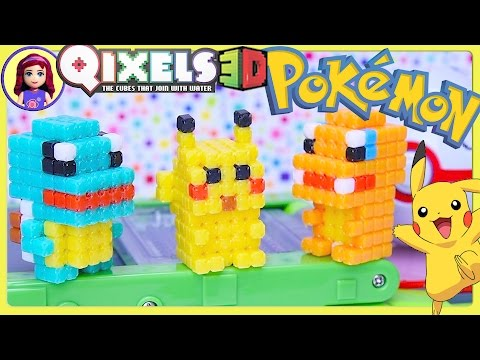 Qixels 3D Pokemon Pikachu Squirtle Charmander Build - Kids Toys