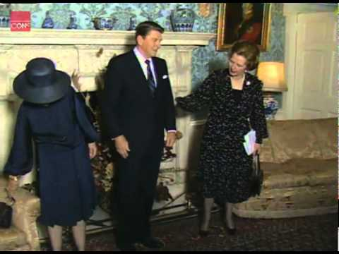 Margaret Thatcher meeting with U.S. President, Ronald Reagan