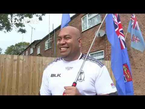 Fijian fans prepare the England Rugby World Cup match