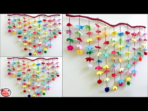 Amazing Wall Decoration Idea    Wall Hanging Making at Home   Paper Flower Wall Hanging   DIY How to