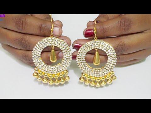 How Make Designer Earrings With Bells Beads | DIY | Jewelry making At Home | Uppunutiashwini
