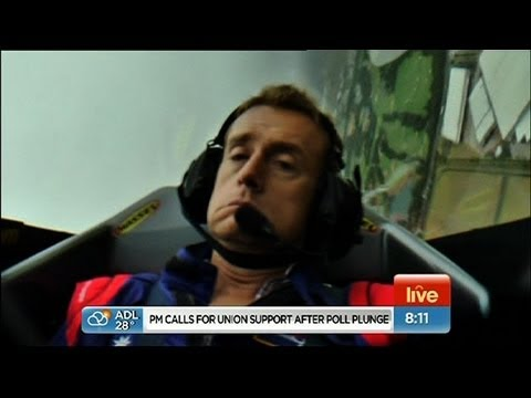 Grant Denyer passes out on LIVE TV in stunt plane