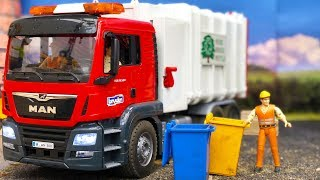 TOY garbage TRUCK in action!   Bruder toys truck and tractor   Video for kids