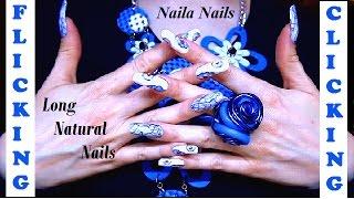 NATURAL LONG NAILS - FLICKING - and floral nail art