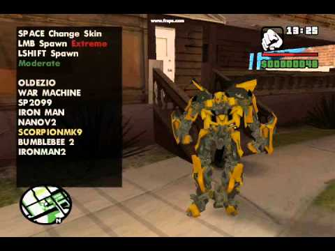 GTA SA Iron man, scorpion, bumblebee skins!!! download