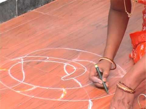 nagarahavu freehand rangoli in kannada