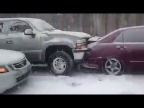 VEHICLES CRASH INTO EACH OTHER ON EXTREME ICY ROADS! WINTER Storm