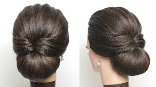 New Simple Hairstyle For Girls. Cute And Easy Party Hair Bun.