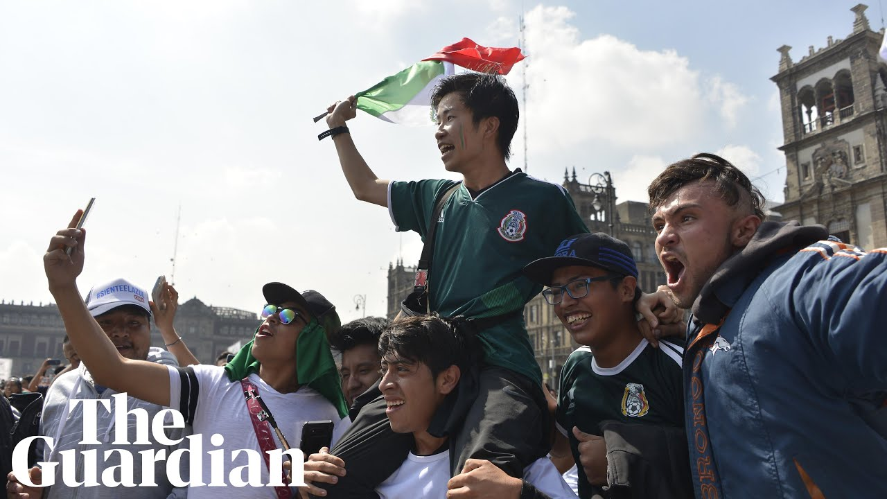 South Korea and Mexico fans celebrate after Germany's World Cup exit