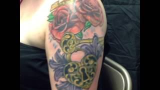 Filigree heart locket tattoo