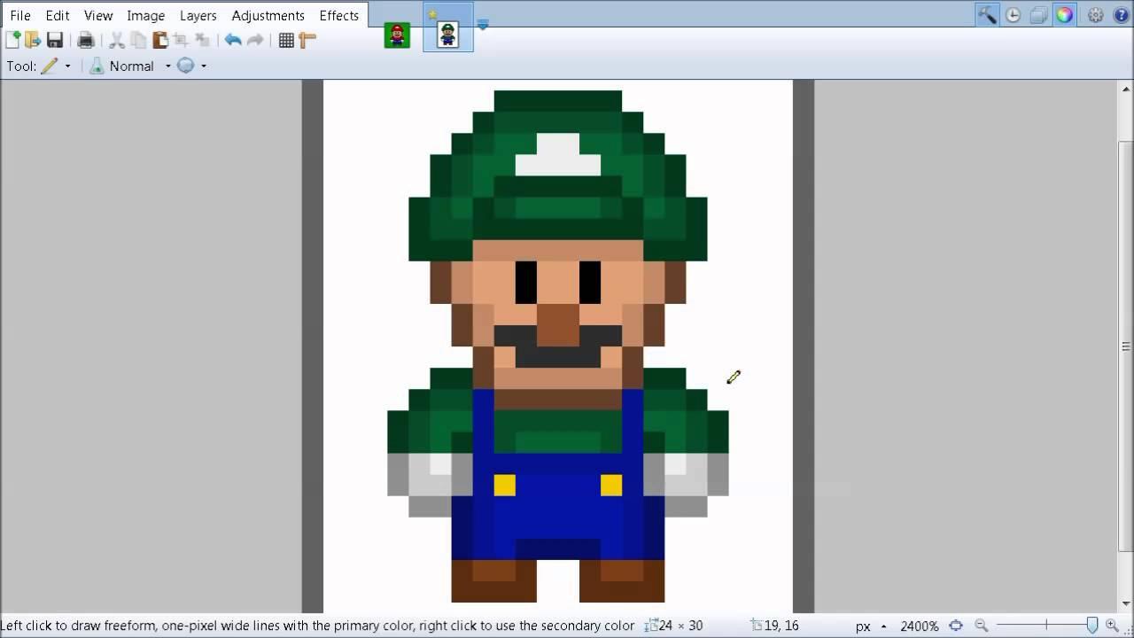 Pixel art templates luigi