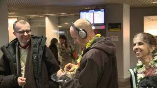 2011.04.11. Arrival Kirtan at Airport, H.G. Sankarshan Das Adhikari - Riga, LATVIA