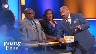 FUNNY CLIP! Say THAT again Derrick? | Family Feud
