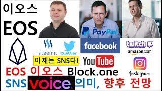 EOS 이오스 블록원 SNS 보이스(VOICE) 출시, SNS 산업 동향, 향후 전망