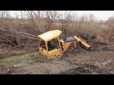 "321CLR Excavator Pulls Out 450H Deere Dozer Stuck In a Ditch ""STUCK"""