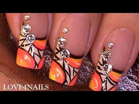 How To Paint A Bright Neon Nail Art Design With Crystals ~♥~ Tutorial video