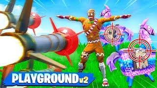 PROTECT THE LLAMA vs GUIDED MISSILES! Custom Fortnite Playground v2 Gamemode