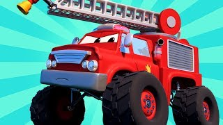 The Monster Fire Truck saves the Day   Monster Truck of Car City Monster Town