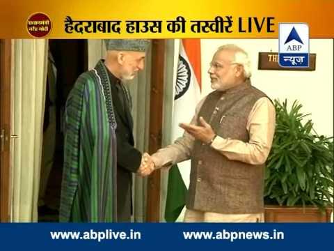 Modi meets Afghan President Hamid Karzai