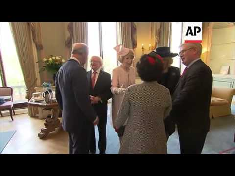 Prince Charles welcomes President Higgins at Irish embassy