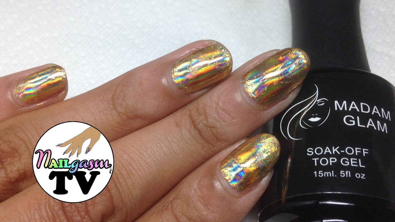 holographic gold nail foil tutorial gel vs nail polish
