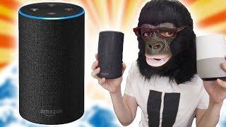AmazonEcho開封レビュー!GoogleHomeと音質などを比較してみたぞ!【アマゾンエコー,アレクサ,Alexa,グーグルホーム】