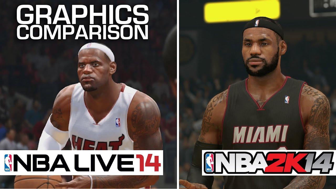 nba 2k14 vs nba live 14 graphics comparison ps4 youtube