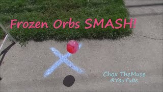 "SMASH ""Frozen Orbs"" Frozen Water Balloon Smash 3 Ways! Viewer Request"