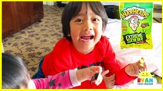 Kids Sour Candy Challenge with Warheads and Toxic Waste