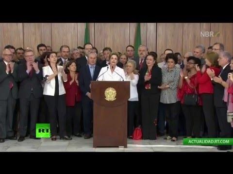 EN DIRECTO: El mensaje de Dilma Rousseff tras ser suspendida por el Senado de Brasil
