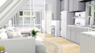 The Sims 4: Speed Build // GREY OPEN PLAN + CC LINKS