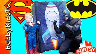 Giant Fortsy Surprise Egg Battle! Batman and Superman Want the HobbyKids Toys